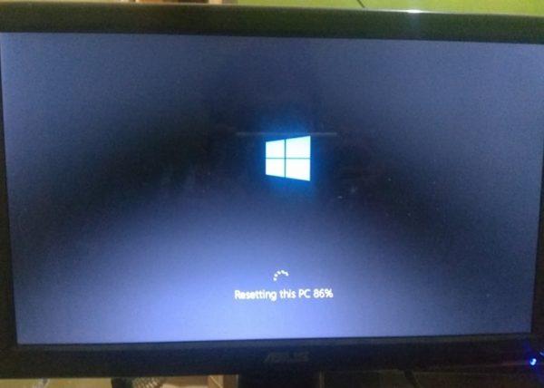 proses reset sedang berlangsung di windows 10