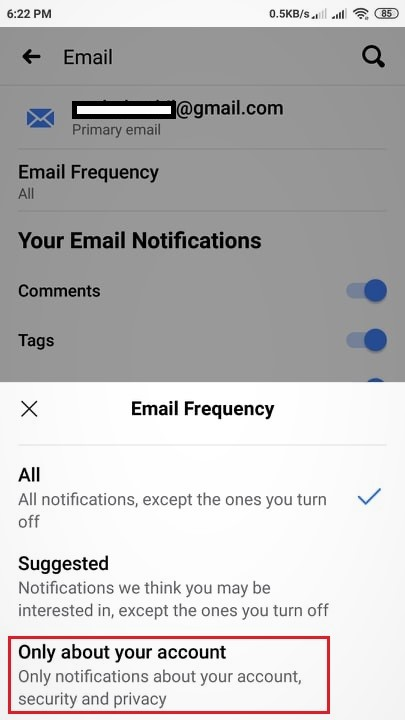 edit email frequency fb