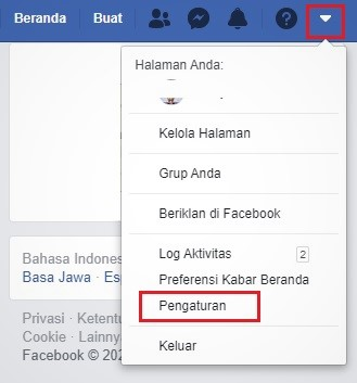 buka setting di Facebook