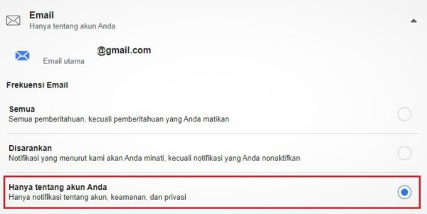 setting notifikasi email facebook