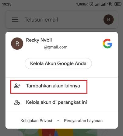 pilih tambahkan akun lainnya di gmail