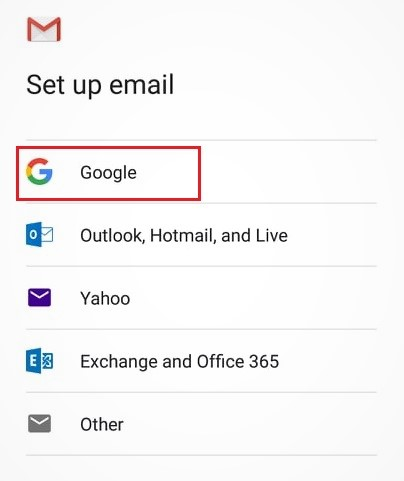 pilih Google untuk menambahkan akun Google
