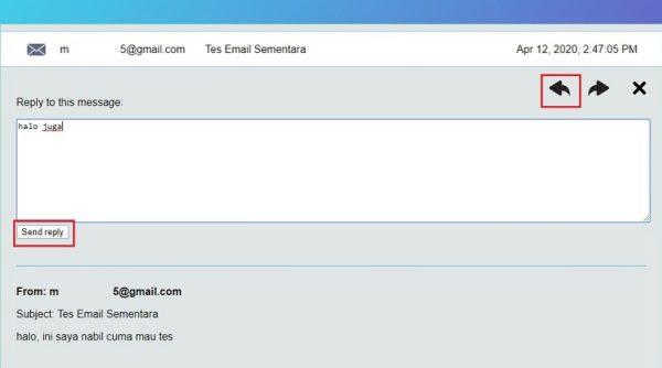 tampilan inbox 10minutemail