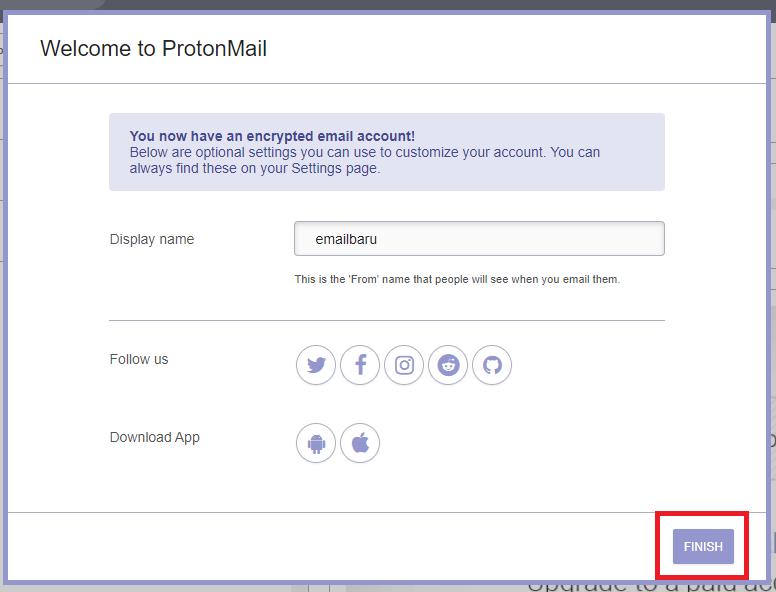 Set username proton mail