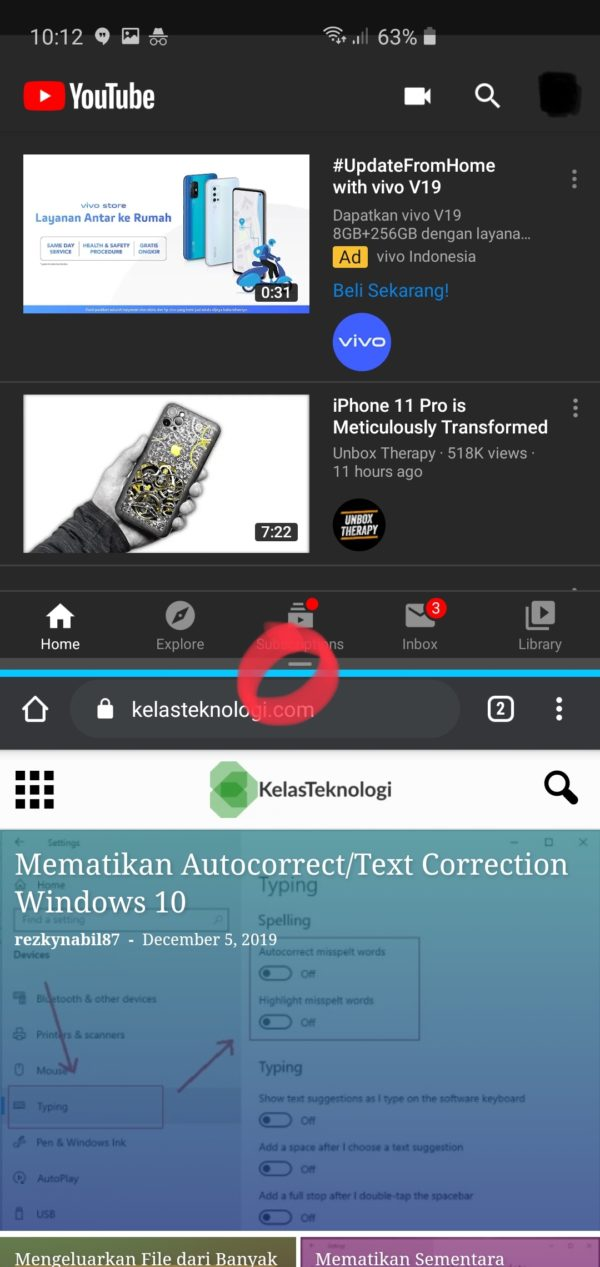 Split Screen Multitasking Aplikasi di Samsung