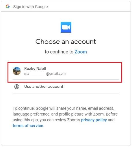 pilih akun google untuk login zoom