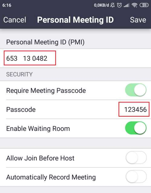 setting personal meeting id