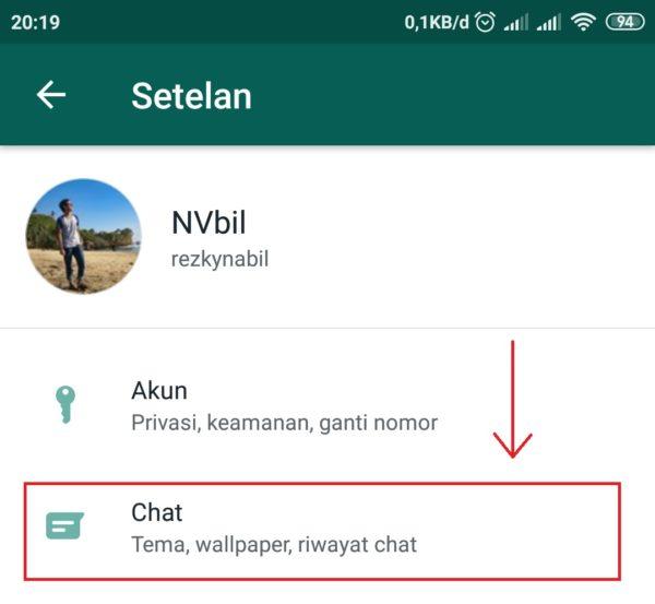 pilih menu chat di setting wa