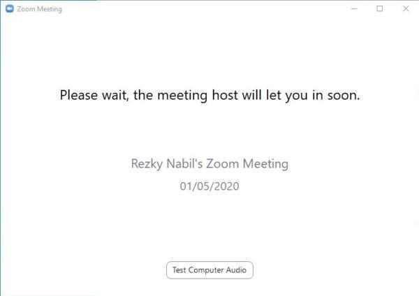 tunggu proses persetujuan dari host zoom