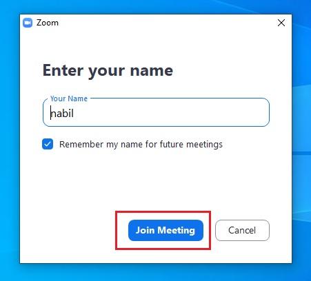 pilih nama di Zoom lalu join