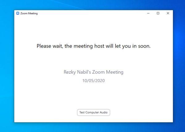 menunggu persetujuan dari pembuat room zoom