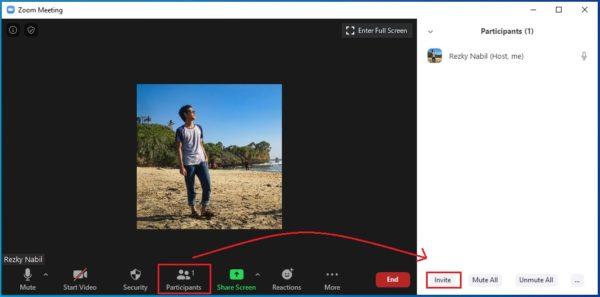 klik participant untuk membuka jendela member, lalu klik invite