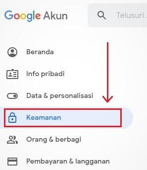 menu keamanan akun google