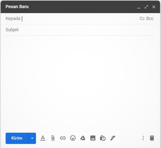 jendela untuk menulis surat di gmail