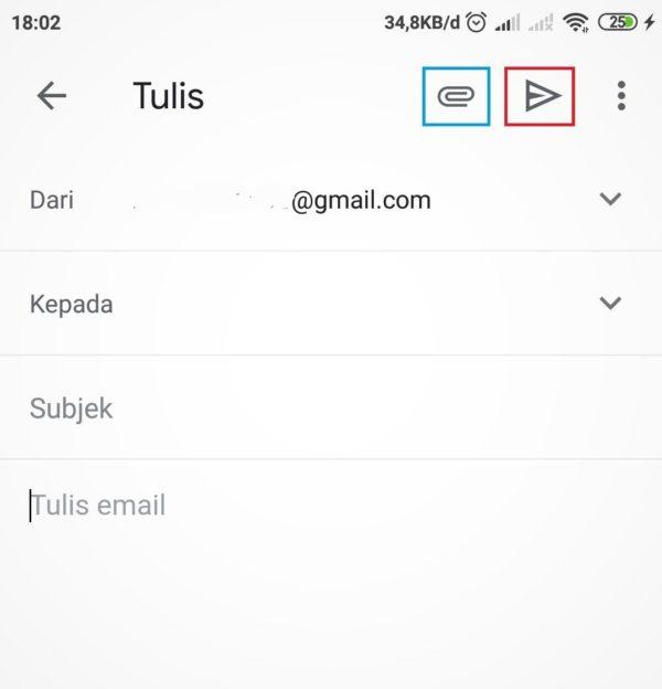 tampilan tempat menulis email di gmail hp