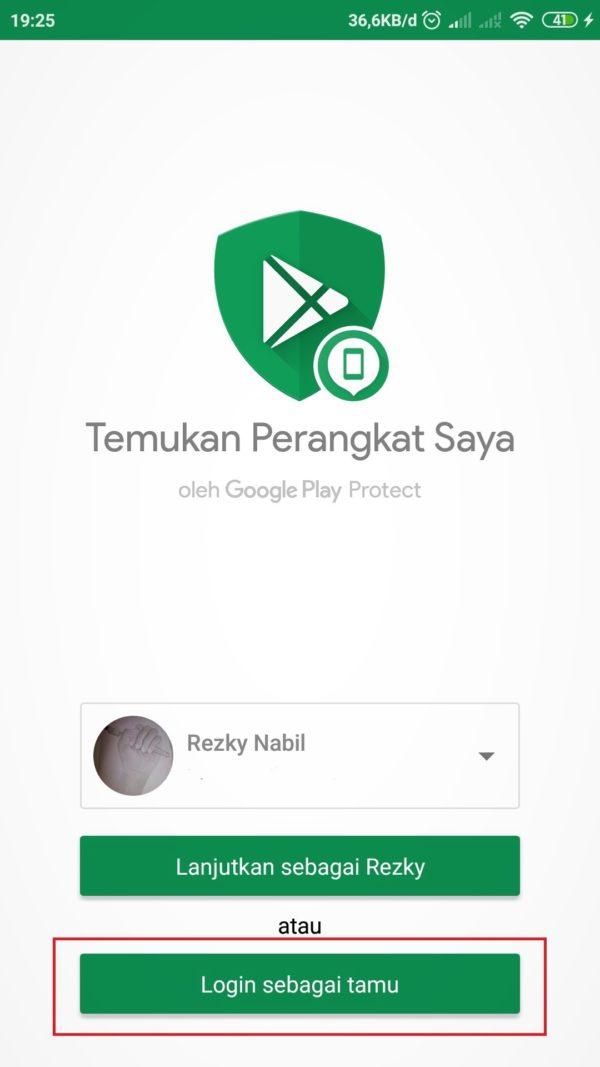 pilih email di aplikasi temukan perangkat