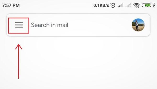 ikon tiga garis gmail