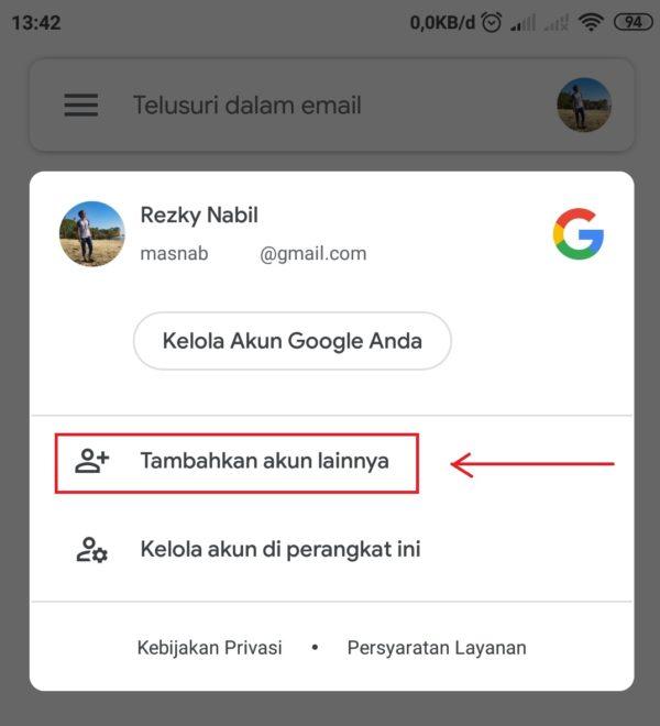 tambah akun di aplikasi gmail
