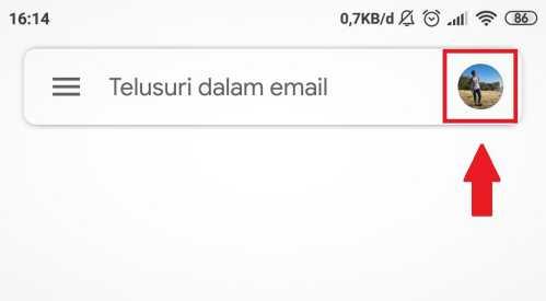 lokasi ikon profil di aplikasi Gmail