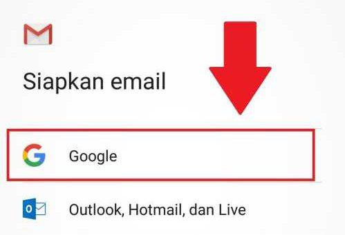 list akun yang tersedia, pilih Google