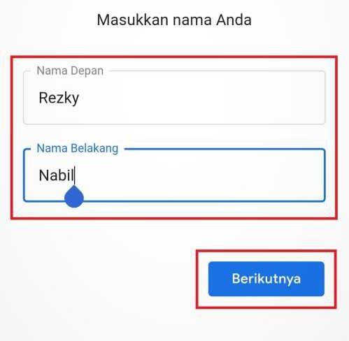 kolom pengisian nama pendaftar