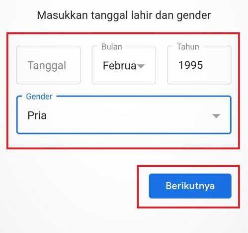 kolom tanggal lahir pendaftar