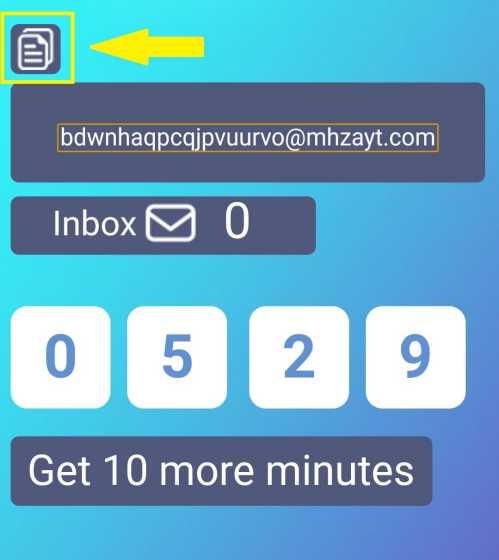 tombol untuk mengcopy alamat email sementara