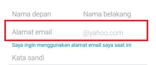 kolom untuk alamat email