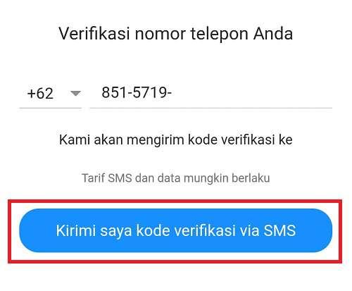 tombol untuk meminta kirim kode