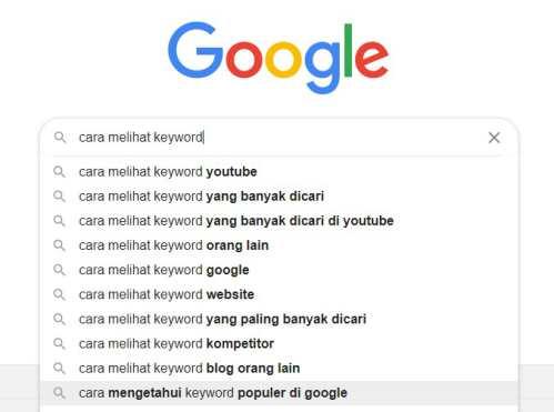 kolom yang menampilkan saran dari google search prediction