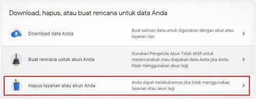 menu untuk masuk pengaturan hapus layanan akun Google