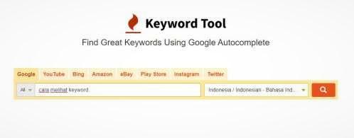 halaman utama kyword tool io, masukkan data di situ