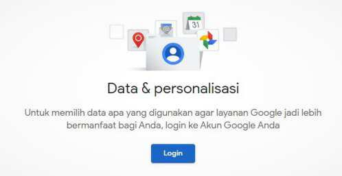 login ke setting data dan personalisasi akun Google