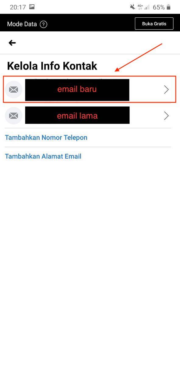 Masuk menu email baru facebook