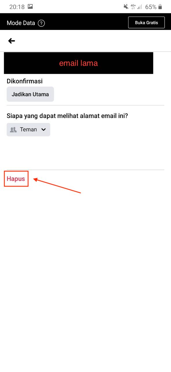 Hapus email facebook
