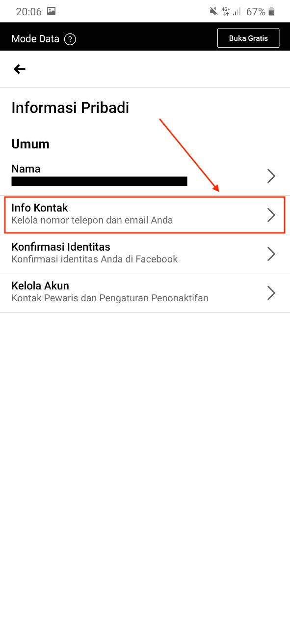 Masuk menu info kontak facebook