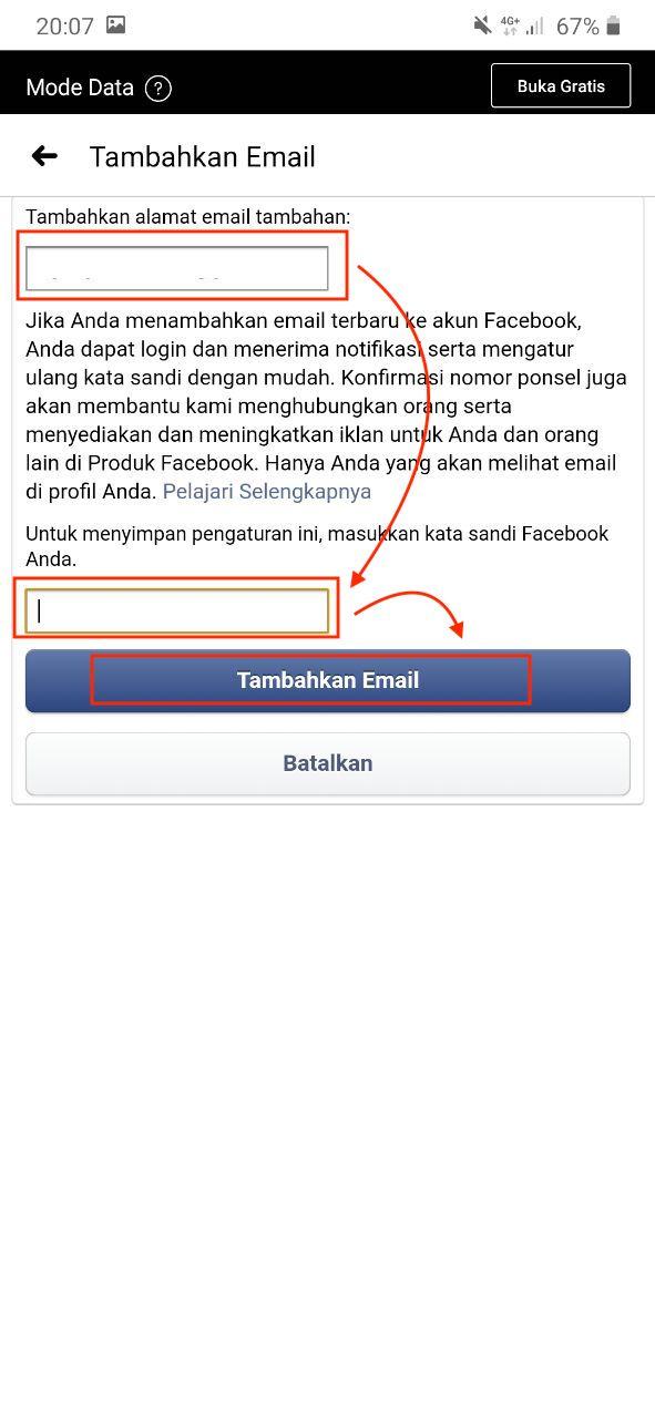 Input email baru facebook