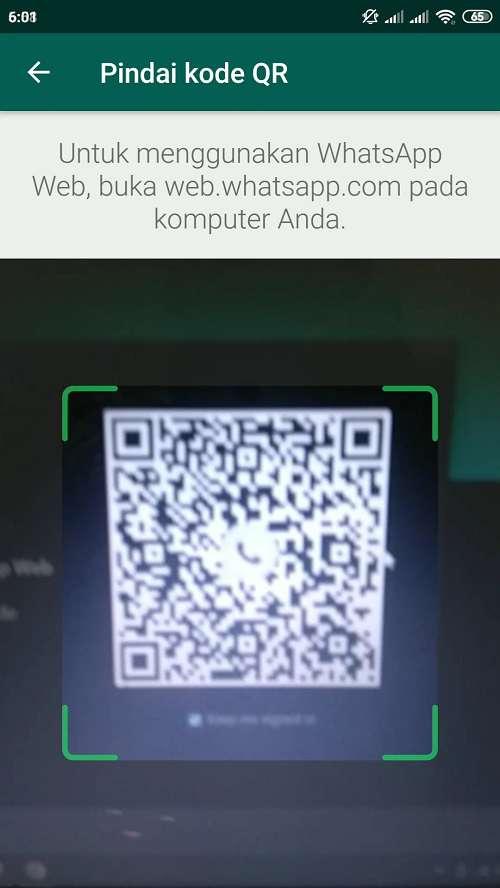 arahkan kamera hp ke barcode wa web