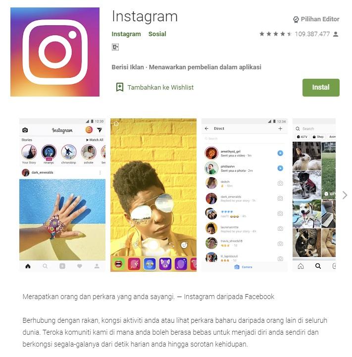 Membuat akun Instagram baru melalui google play