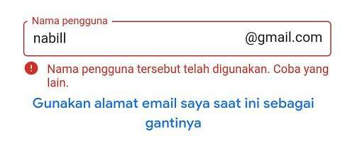 kolom untuk membuat alamat email