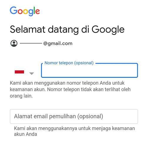 kolom untuk nomor telepon dan email pemulihan gmail
