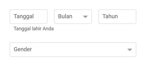 kolom untuk info tanggal lahir dan gender di gmail