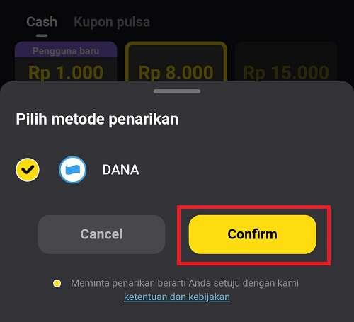 tombol confirm penarikan dengan dana