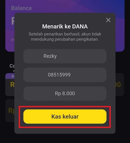 tombol untuk menarik uang snack video